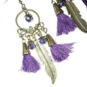 5 ✨ Purple tassle feather bohemian earrings